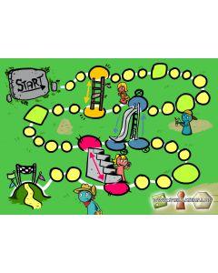 Leiterspiel mit Figuren und Würfel