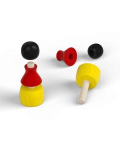3-part wooden pawn - national colors