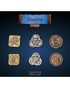 Set Metallmünzen groß Zombie