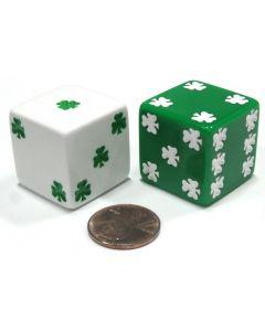 Set Kleeblattwürfel 25mm - Jumbo-Würfel - 1 weiß und 1 grün